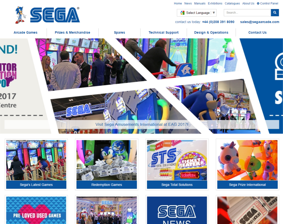 Website Design for Sega Arcade
